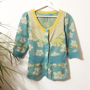 HWR New Rice Snap Front Peplum Cardigan Sweater